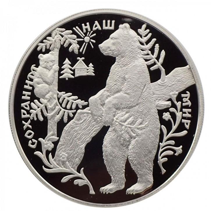 Russland 25 Rubel 5 Unzen Silber PP Braunbär 1997