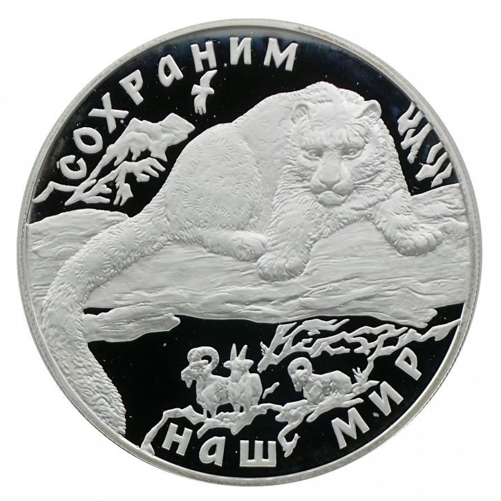 Russland 25 Rubel 5 oz Silber PP Schneeleopard 2000