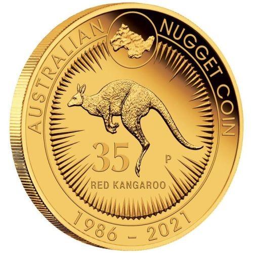 Australien 1/4 oz Gold Nugget 35 Jahre Känguru & Nugget 2021