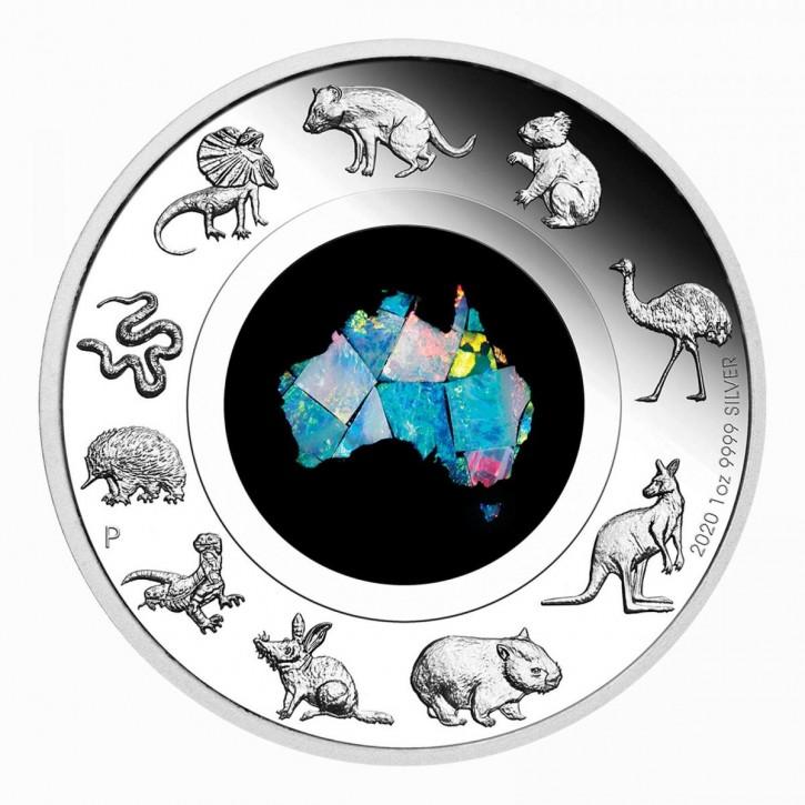 Australien $ 1 Great Southern Land Opal 2020 Silber PP