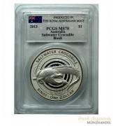 Australien $ 1 Silber Bindi / Salzwasserkrokodil PCGS MS-70
