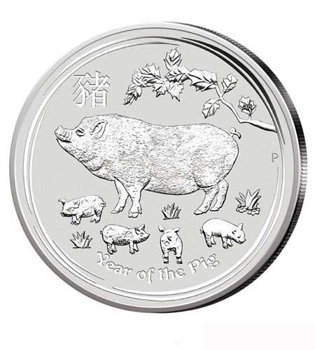 Australien $ 1 Silber Lunar II Schwein 2019