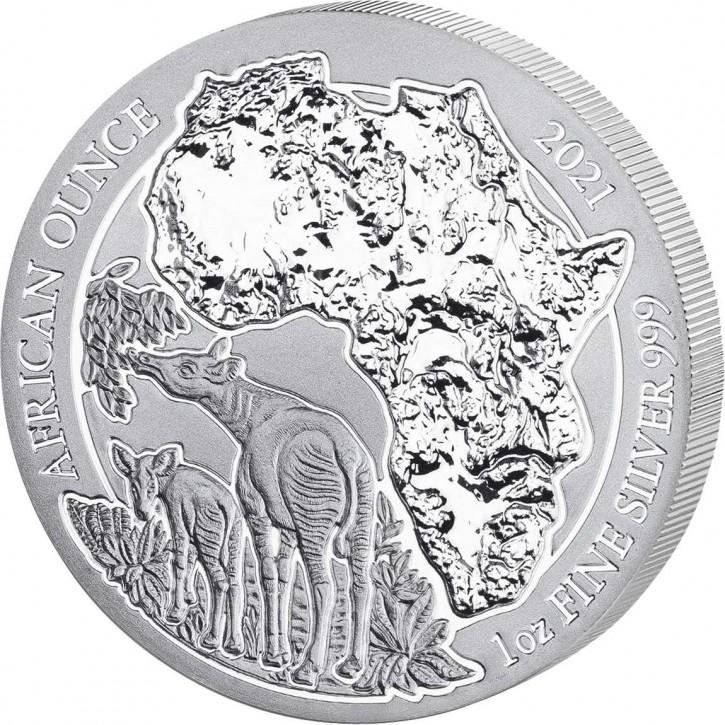 Ruanda 50 Francs 1 oz Silber African Ounce Okapi 2021 BU