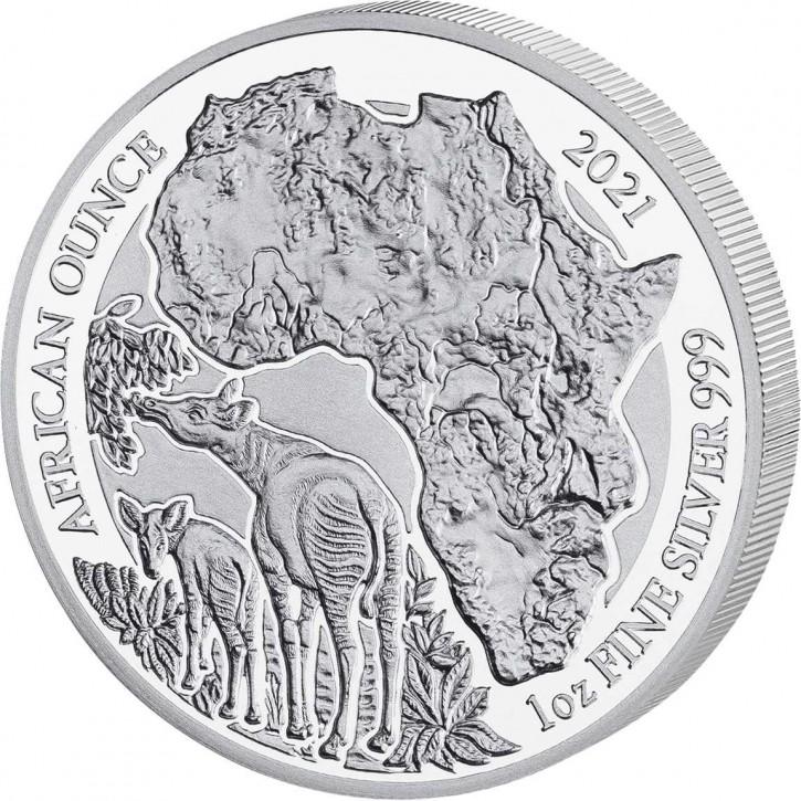 Ruanda 50 Francs 1 oz Silber African Ounce Okapi 2021 PP