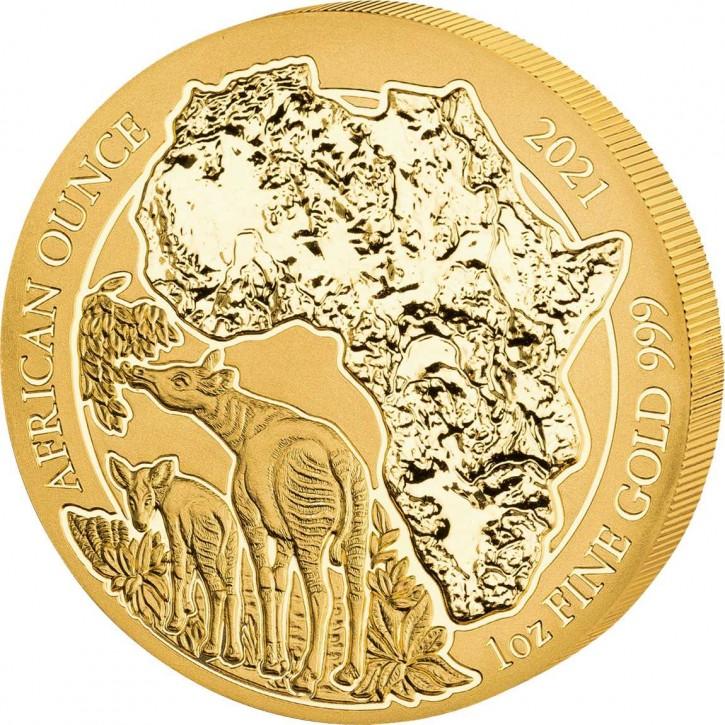 Ruanda 100 Francs 1 oz Gold African Ounce Okapi 2021