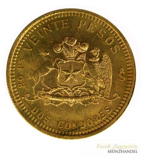 Chile 20/Veinte Pesos 1976 Gold
