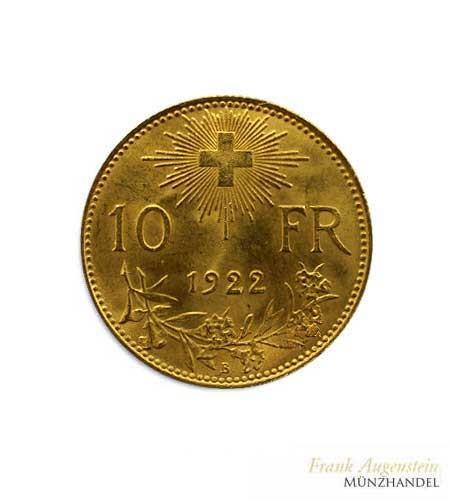 Schweiz 10 Franken Vreneli Gold 1922