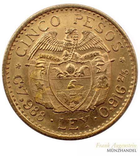 Kolumbien 5 Pesos Gold Bolivar kleiner Kopf 1926