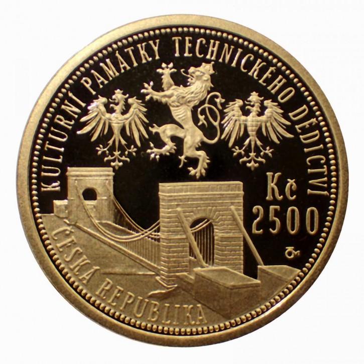 Tschechien 2500 Kronen Stadlec Kettenbrücke 1/4 oz Gold PP 2008