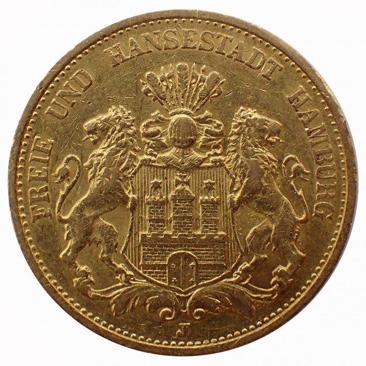 Hamburg 20 Mark Stadtwappen Gold 1893 J