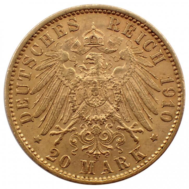 Deutsches Kaiserreich 20 Mark Preussen Wilhelm II. Gold 1910 J