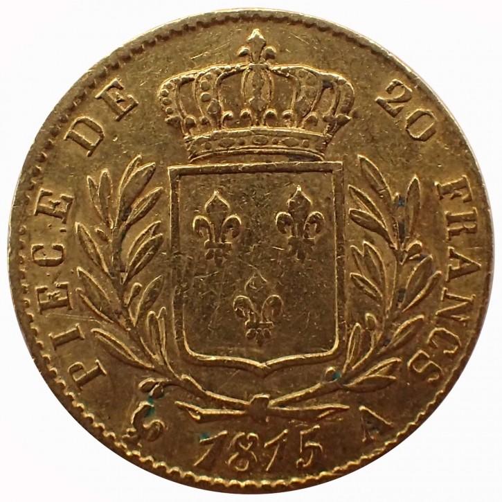 Frankreich 20 Francs Gold Ludwig XVIII. 1815 A Paris
