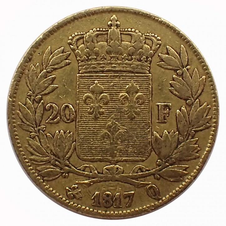 Frankreich 20 Francs Gold Ludwig XVIII 1817 Q