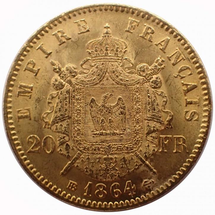 Frankreich 20 Francs Napoleon III Gold 1864 BB
