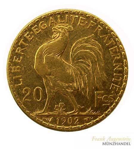 Frankreich 20 Francs 3. Republik Marianne/Gallischer Hahn Gold 1902