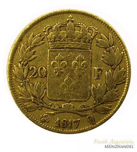 Frankreich 20 Francs Ludwig XVIII 1817 Q