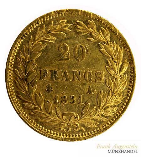Frankreich 20 Francs Louis Phillipe I. Gold 1831