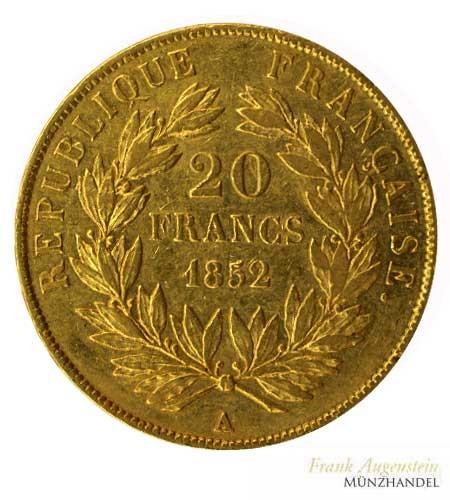 Frankreich 20 Francs Napoleon III Gold 1852 A