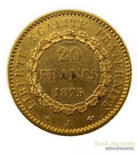 Frankreich 20 Francs Genius Gold 1875