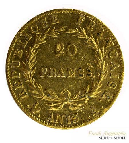 Frankreich 20 Francs Napoleon I Gold 1804 (AN 13)