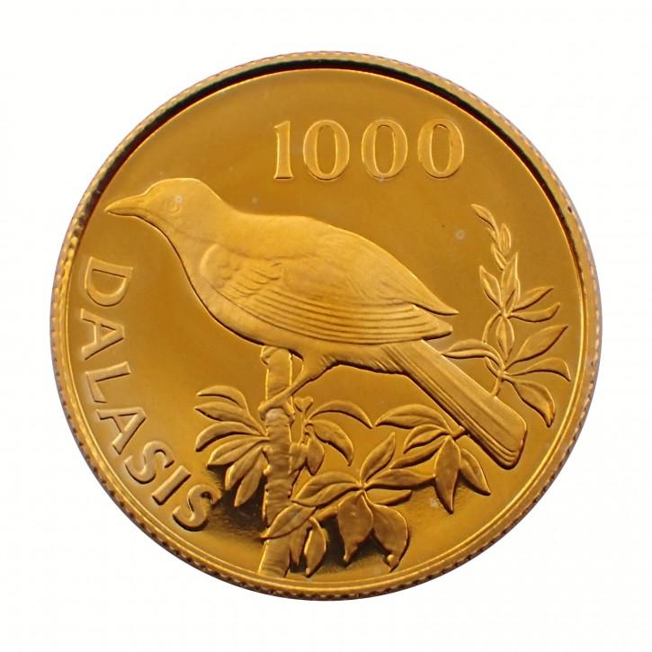 Gambia 1.000 Dalasis Schneeballwürger 1987 Gold PP