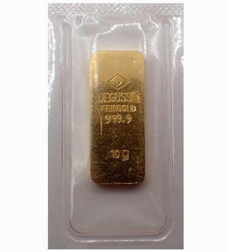 Goldbarren Degussa alte Form 10 g .9999 Gold