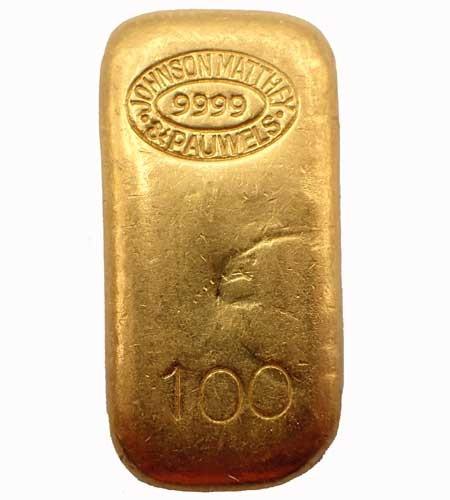 Goldbarren Johnson Matthey Pauwels 100 g .9999 Gold gegossen