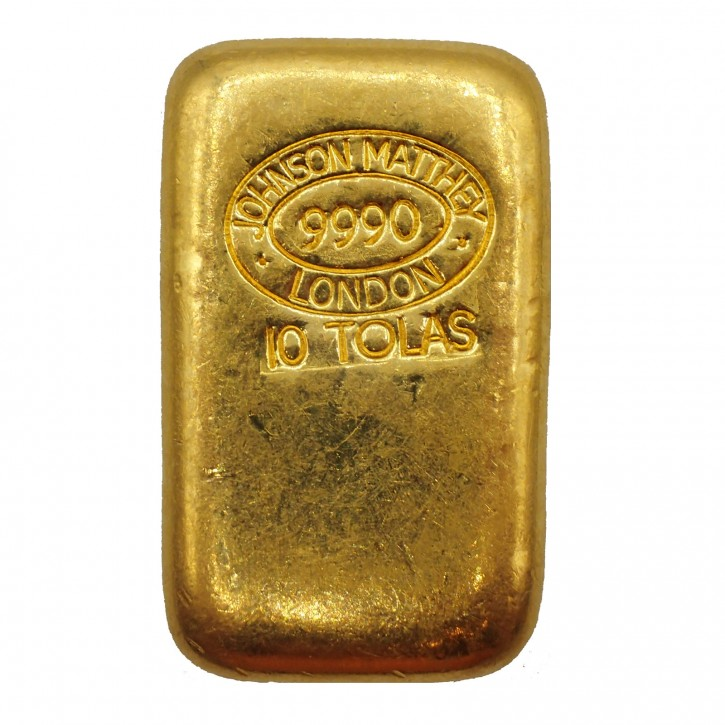 Goldbarren Johnson Matthey 10 Tola .999 Gold gegossen