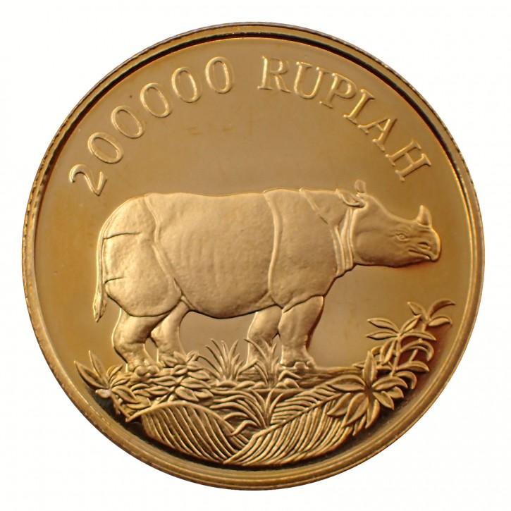 Indonesien 200.000 Rupiah Javanashorn 1987 Gold PP