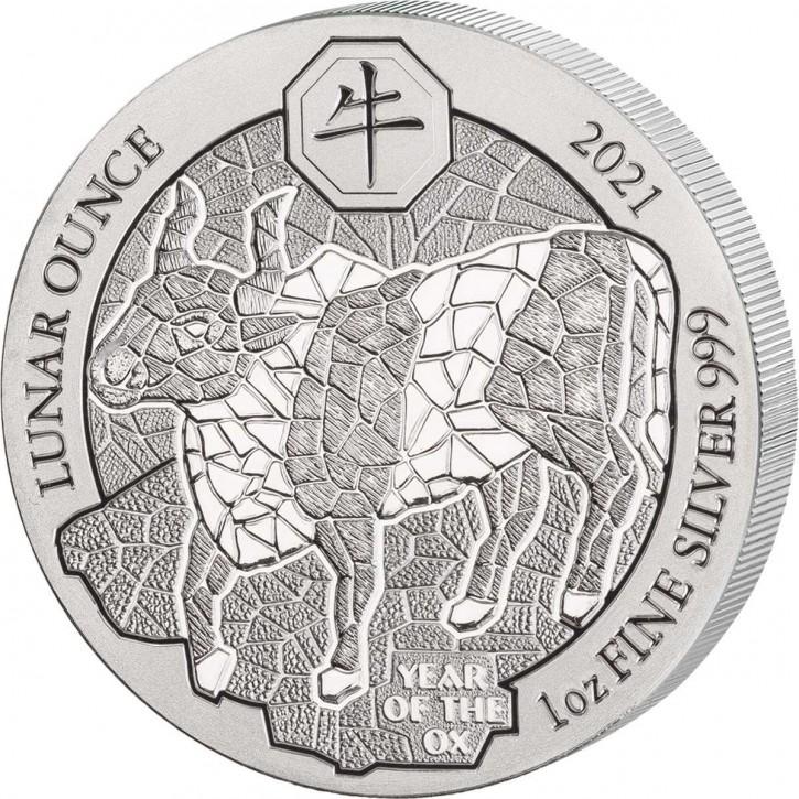 Ruanda 50 Francs 1 oz Silber Lunar Jahr des Ochsen 2021 BU