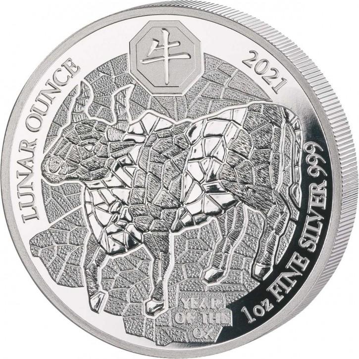 Ruanda 50 Francs 1 oz Silber Lunar Jahr des Ochsen 2021 PP