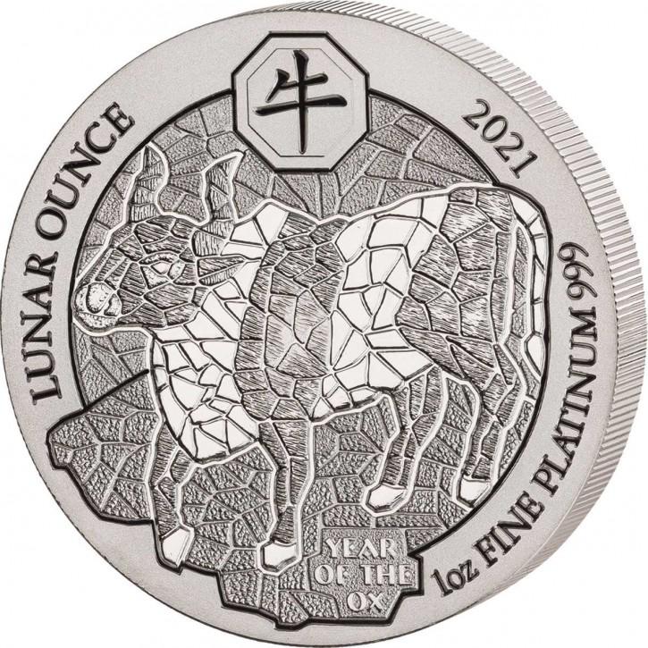 Ruanda 100 Francs Lunar Jahr des Ochsen Platin 1 oz 2020