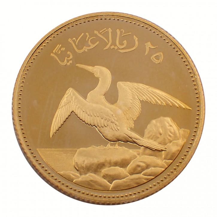 Oman 25 Rials Maskentölpel 1987 Gold PP