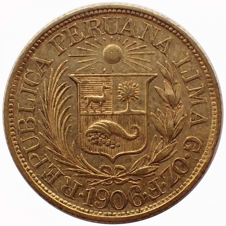Peru 1/2 Pfund (1/2 Libra) Gold Inka Kopf 1906