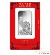 Silberbarren Pamp Suisse 1 oz .999 Silber Motiv Hahn