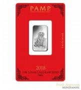 Silberbarren Pamp Suisse 10 g .999 Silber Motiv Lunar Hund 2018
