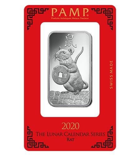 Silberbarren Pamp Suisse 1 oz .999 Silber Motiv Ratte 2020