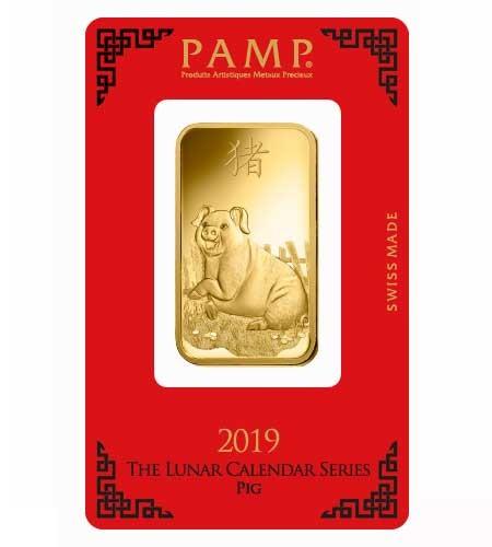 Goldbarren Pamp Suisse 1oz .9999 Gold Motiv Lunar Schwein 2019