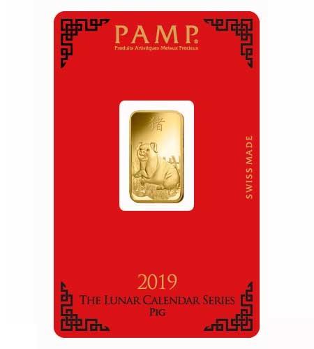 Goldbarren Pamp Suisse 5 g .9999 Gold Motiv Lunar Schwein 2019
