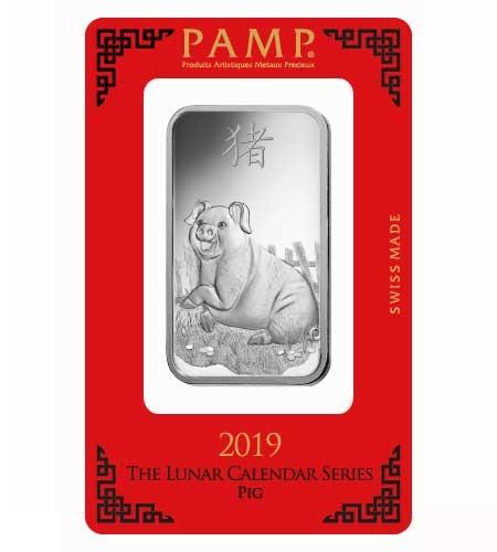 Silberbarren Pamp Suisse 1 oz .999 Silber Motiv Lunar Schwein 2019