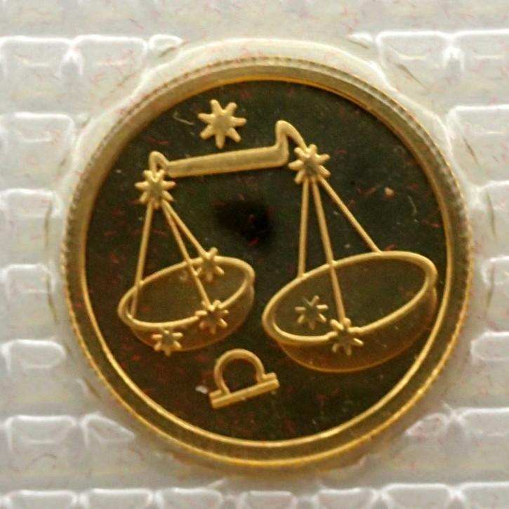 Russland 25 Rubel Gold 1/10 oz Sternzeichen Waage 2002