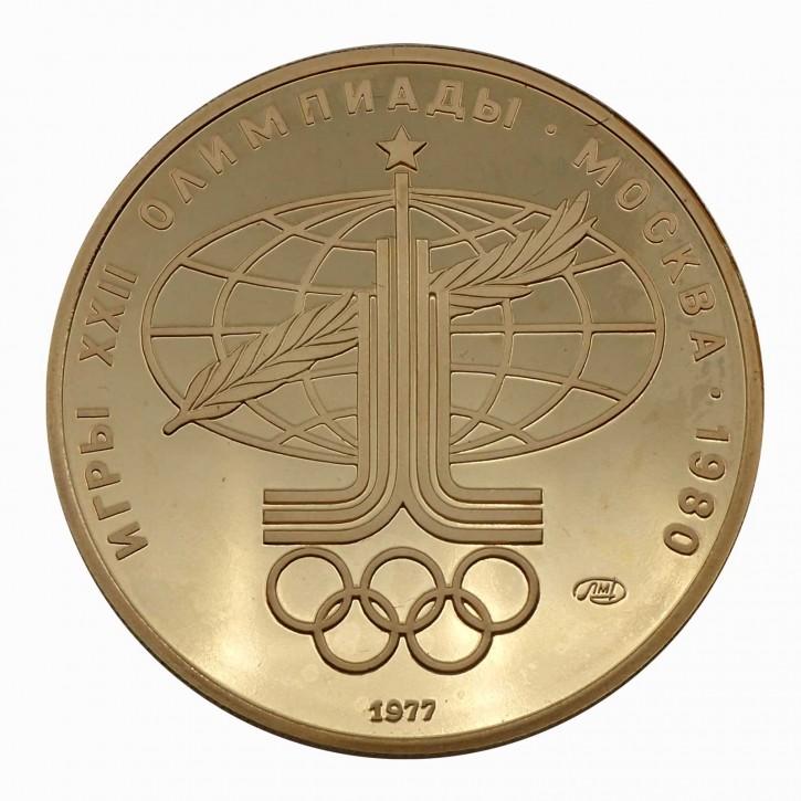 Russland 100 Rubel Gold 1/2 oz 1977 Olympiade Moskau Sport und Frieden PP