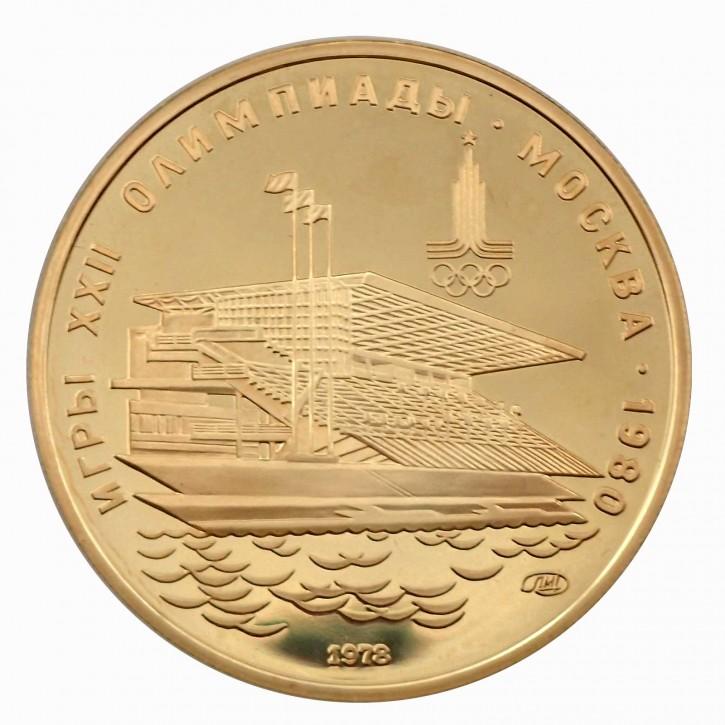 Russland 100 Rubel Gold PP 1/2 oz 1978 Olympiade Moskau Ruderstadion Krylatskoe