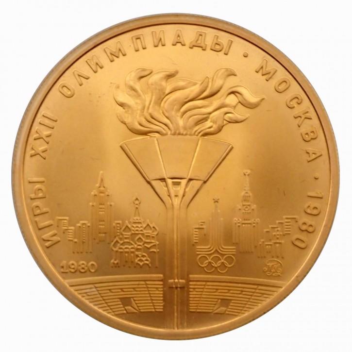 Russland 100 Rubel Gold 1/2 oz 1980 Olympiade Moskau Olympische Flamme