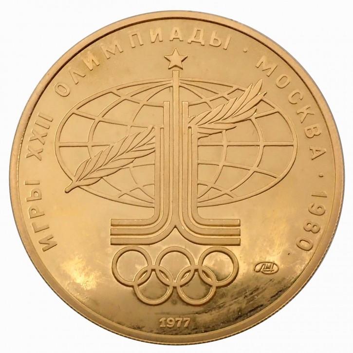 Russland 100 Rubel Gold 1/2 oz 1977 Olympiade Moskau Sport und Frieden