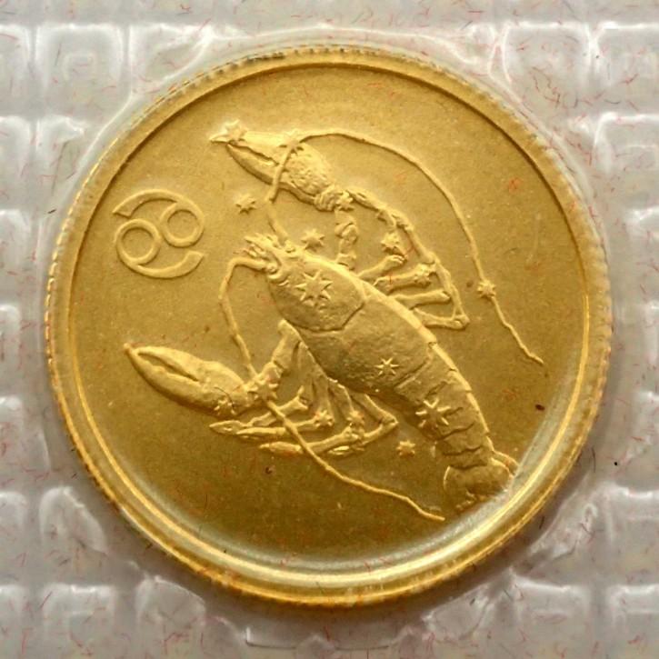 Russland 25 Rubel Gold 1/10 oz Sternzeichen Krebs 2003