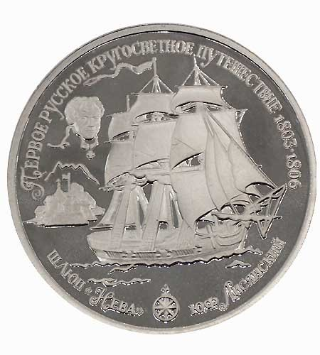 Russland 25 Rubel Palladium Schaluppe Neva 1 oz Pd Polierte Platte 1993