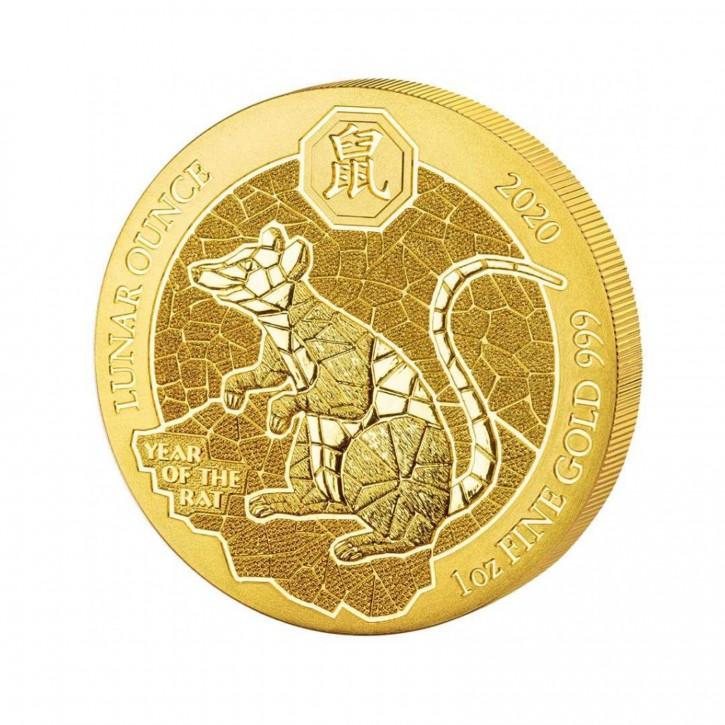 Ruanda 100 Francs 1 oz Gold Lunar Jahr der Ratte 2020