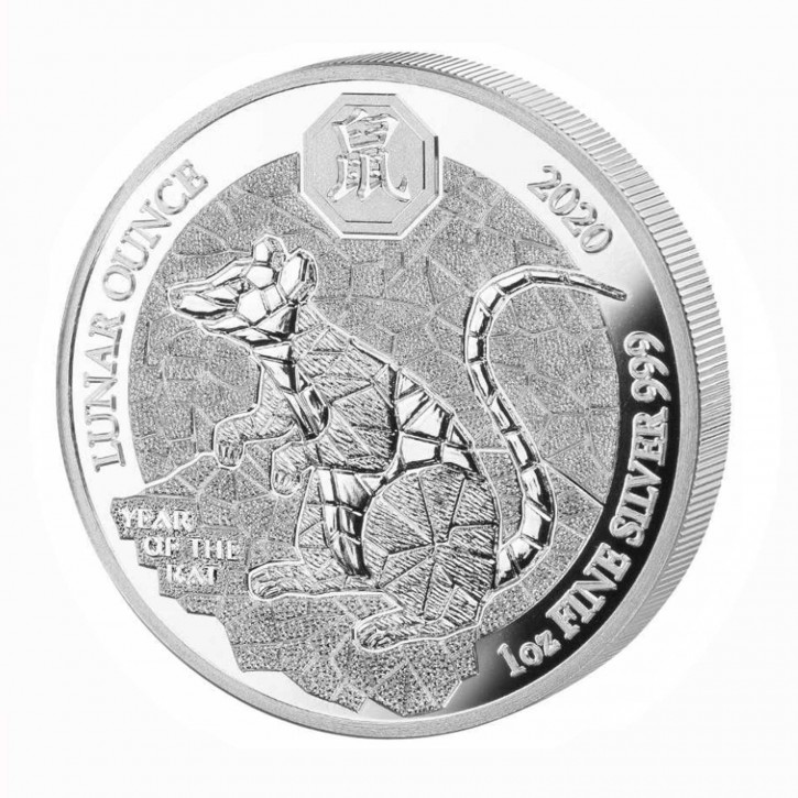 Ruanda 50 Francs 1 oz Silber Lunar Jahr der Ratte 2020 PP