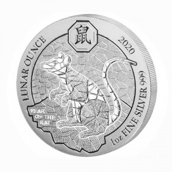 Ruanda 50 Francs 1 oz Silber Lunar Jahr der Ratte 2020 BU